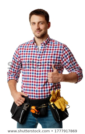 Smiling laborer on white background Stock photo © photography33
