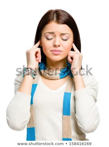 Сток-фото: женщину · закрыто · ушки · рук · белый