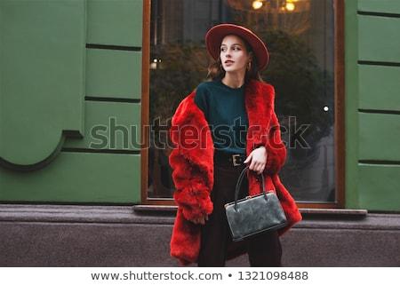Młodych elegancki dziewczyna zielone futra wyrafinowany Zdjęcia stock © carlodapino