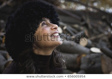 sophisticated ladyportrait  with fur and hat Stock photo © carlodapino