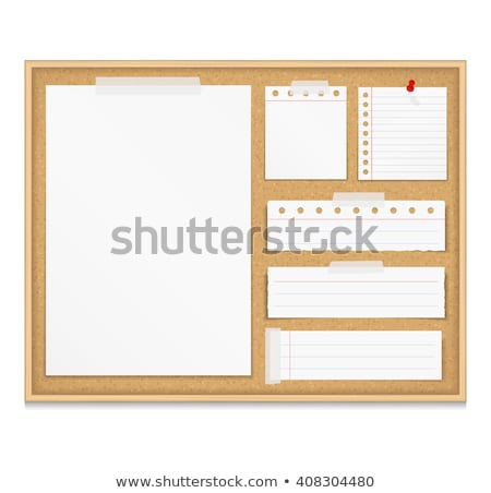 Blank page from a notebook attached to a cork noticeboard. Stock photo © latent