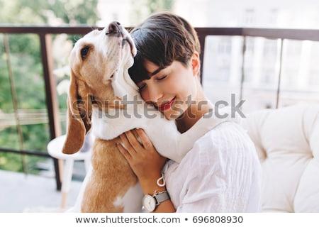 Portrait of woman and puppy stock photo © acidgrey