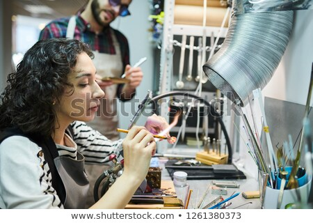 Portret jonge vrouw gas toorts metaal schoonheid Stockfoto © acidgrey