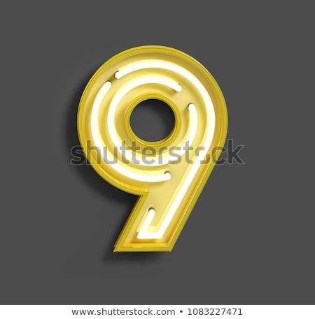 Número nove dígito néon luz naturalismo Foto stock © deyangeorgiev