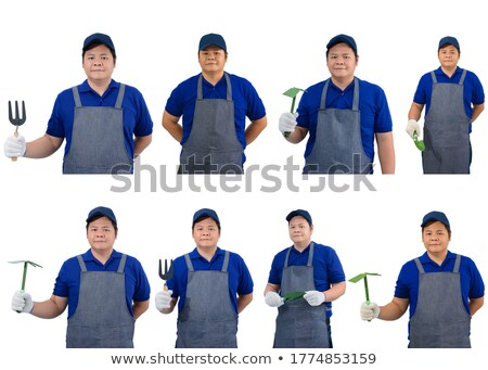 Stock photo: portrait of worker holding pickaxe
