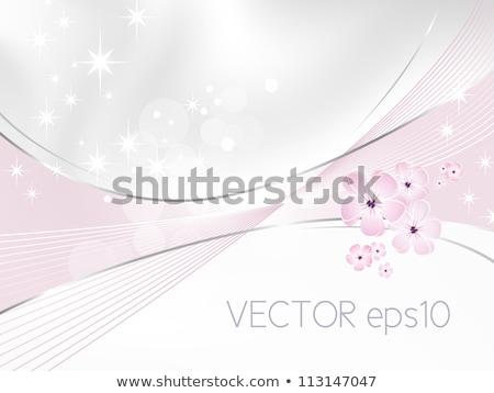 Сток-фото: Invitation With Floral Design In Light Purple Vector Illustrati