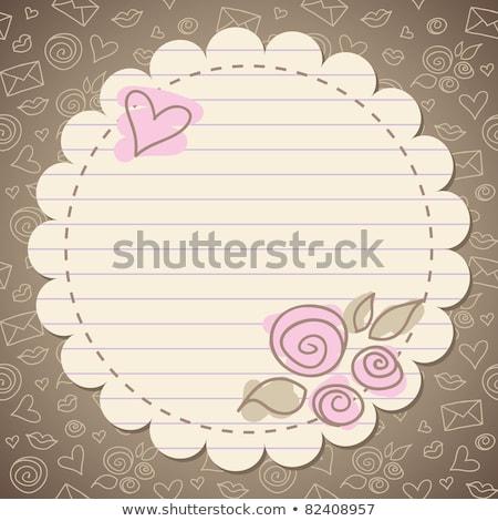 beige · oud · papier · hart · vintage · schets - stockfoto © marinini