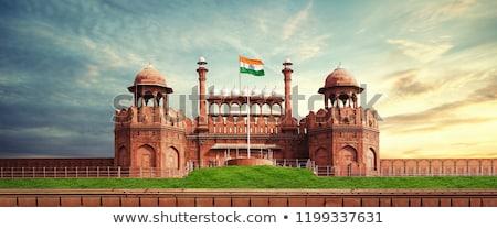 красный форт Нью-Дели Индия строительство стены Сток-фото © szefei