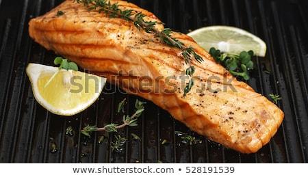 лосося гриль лимона хлеб продовольствие Сток-фото © shamtor