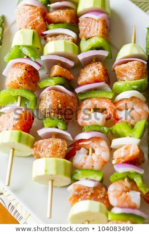 seafood shish kebabs are ready to cook stock photo © ozgur