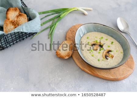 champignon · gomba · krém · leves · tál · felszolgált - stock fotó © zhekos