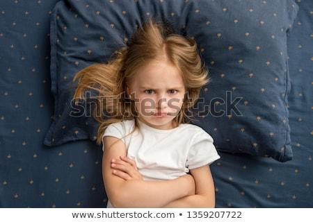 Zły nieszczęśliwy dziewczynka odizolowany biały szczęśliwy Zdjęcia stock © Len44ik