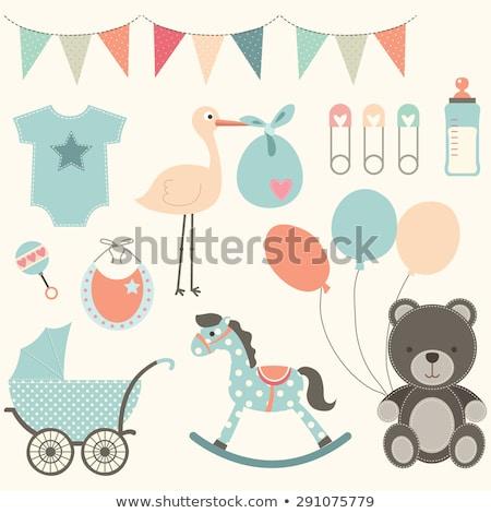 új · baba · fiú · zuhany · kártya · aranyos - stock fotó © balasoiu