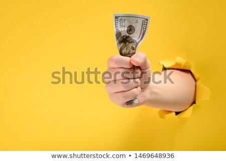 dolar · rulo · el · beyaz · şerit · kadın - stok fotoğraf © vavlt