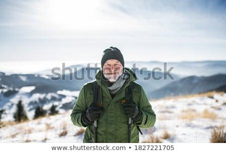 retrato · sério · moço · inverno · roupa · branco - foto stock © luminastock