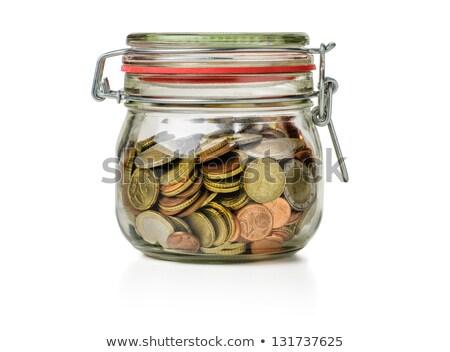 üveg · bögre · érmék · ezüst · fehér · üzlet - stock fotó © zerbor