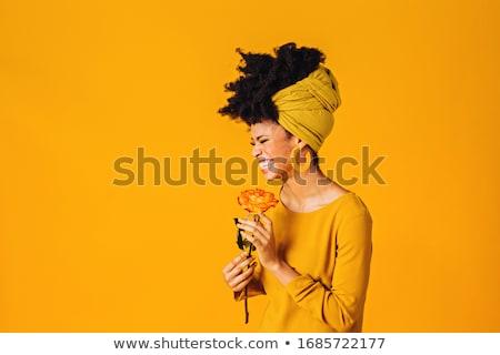 beautiful woman portrait with yellow rose stock photo © lunamarina
