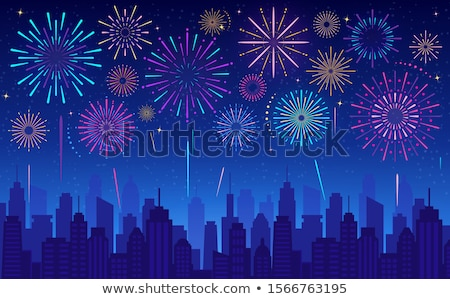 Stock photo: Fireworks over city skyline
