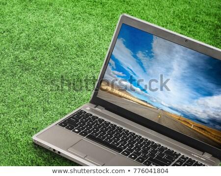 witte · laptop · computer · hemel · scherm · geïsoleerd · Blauw - stockfoto © mikko