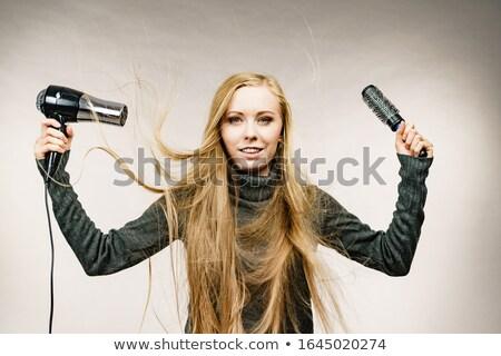 gelukkig · mooie · vrouw · haardroger · grijs · naar - stockfoto © chesterf