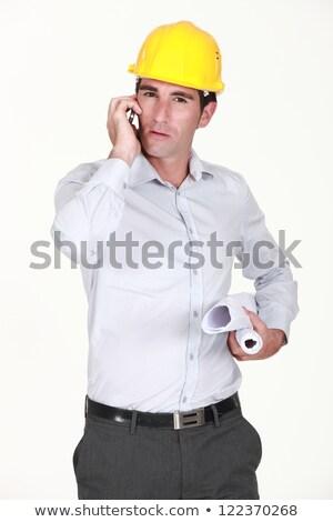 Ambicioso arquiteto planos móvel telefone Foto stock © photography33