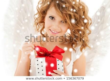 spokojny · anioł · obraz · cute · dziewczyna · biały - zdjęcia stock © dolgachov