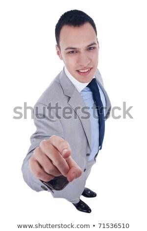 Széles látószögű kép emberek mutat ujjak fiatal Stock fotó © feedough
