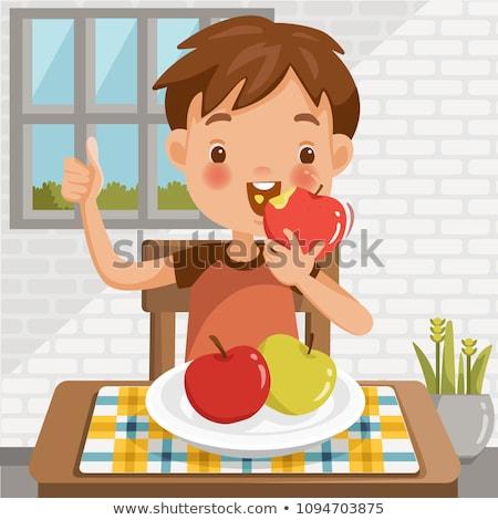 gyerekek · eszik · almák · ősz · park · család - stock fotó © kzenon