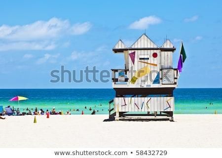 Houten horloge hut strand hemel water Stockfoto © meinzahn