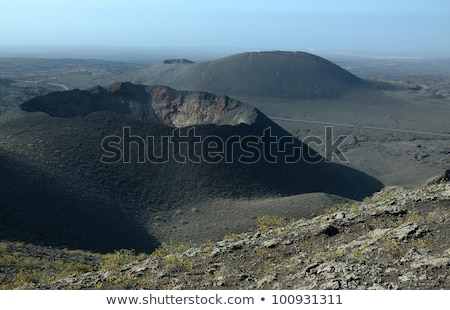 Landscape with cold lava flow and mountain Stock photo © meinzahn