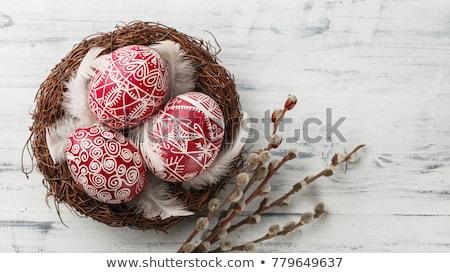 Background Easter eggs willow catkins Stock photo © fotoaloja
