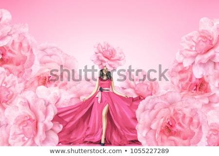 肖像 若い女の子 バラの花びら 白 少女 顔 ストックフォト © mizar_21984