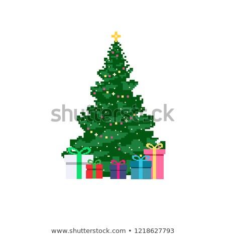 Karácsony fenyőfa izolált fehér terv művészet Stock fotó © vizarch