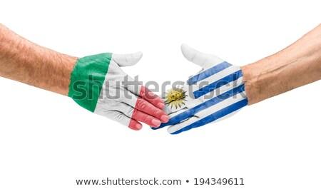 Kézfogás Olaszország Uruguay kéz megbeszélés sport Stock fotó © Zerbor