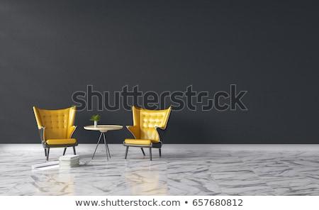 siyah · deri · koltuk · beyaz · duvar · iç · mimari - stok fotoğraf © vizarch