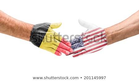 Foto stock: Apretón · de · manos · Bélgica · EUA · mano · reunión · deporte