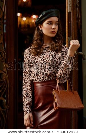 mulheres · leopardo · saia · branco · menina · modelo - foto stock © 26kot