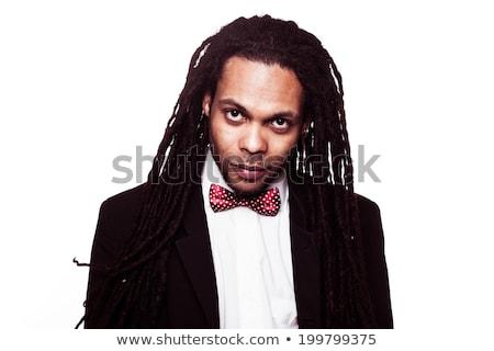 férfi · visel · öltöny · napszemüveg · íj · jóképű - stock fotó © stryjek