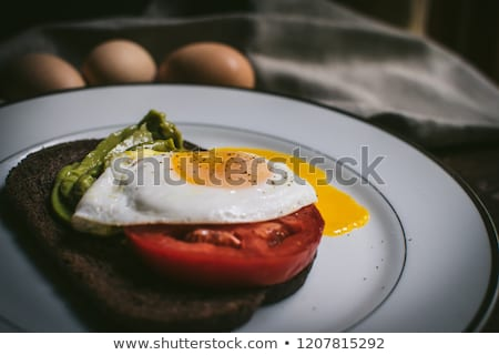 Three pumpernickel slices with guacamole stock photo © raphotos