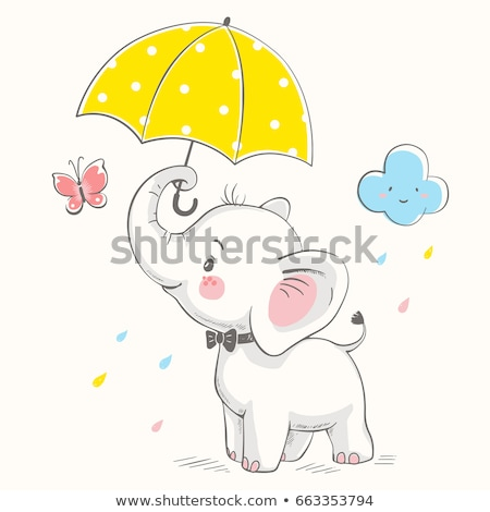 Cute little girl and boy with umbrella, vector illustration Stock photo © carodi
