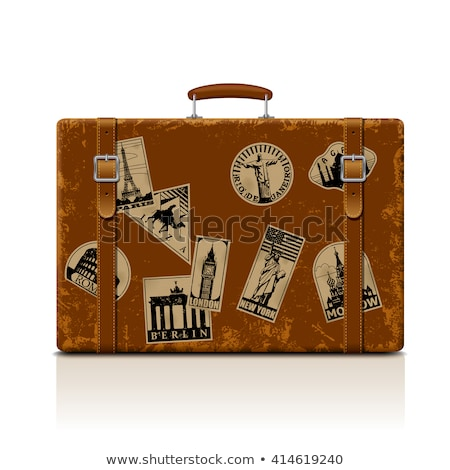 Vintage кожа чемодан пляж ходьбе Stick Сток-фото © alexandre17
