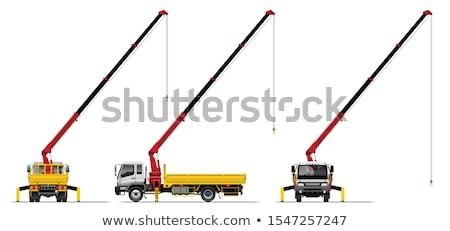 Stockfoto: Vrachtwagen · kraan · witte · kleur · vervoer · verkeer