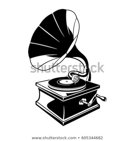 gramofon · zene · hang · lemez · clip · art · fogantyú - stock fotó © mr_vector