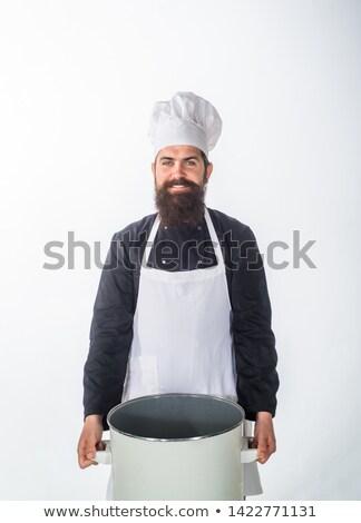 Hombre delantal traje feliz Foto stock © feelphotoart