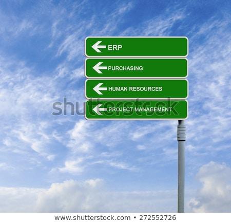 Empresa recurso planejamento rodovia poste de sinalização estrada Foto stock © tashatuvango