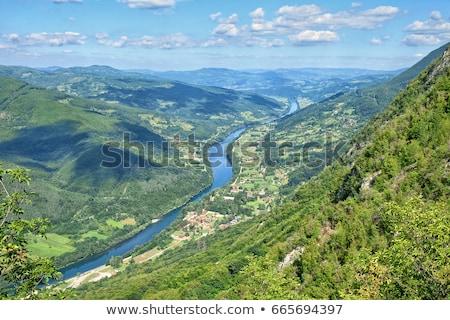 Nehir Sırbistan dağlar manzara gökyüzü ağaç Stok fotoğraf © alexandre17