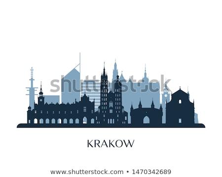 Krakkó sziluett kilátás templom fő- piac Stock fotó © joyr
