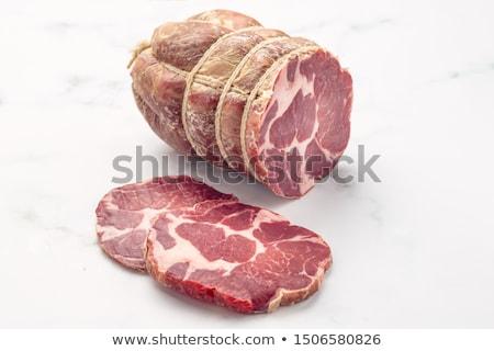 hús · kolbászok · akasztás · fekete · fából · készült · étel - stock fotó © stevanovicigor