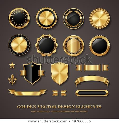 Foto stock: Certificado · dourado · vetor · ícone · botão · tecnologia