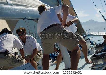 Jacht pokład żeglarstwo morza metal liny Zdjęcia stock © tracer